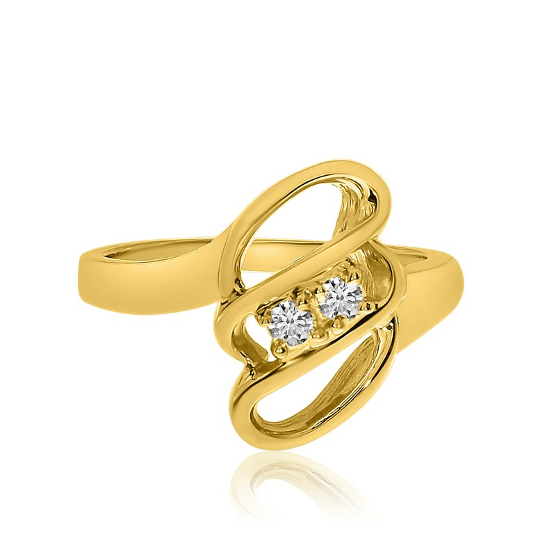 Color Merchants 14K Yellow Gold Swirl Two-Stone Diamond Ring