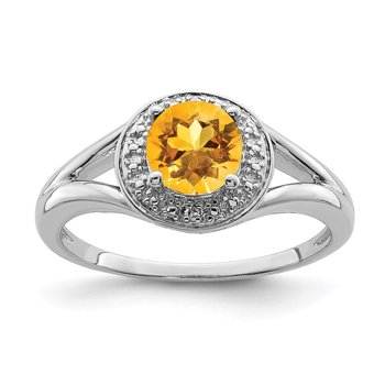 Sterling Silver Rhodium-plated Diam. & Citrine Ring