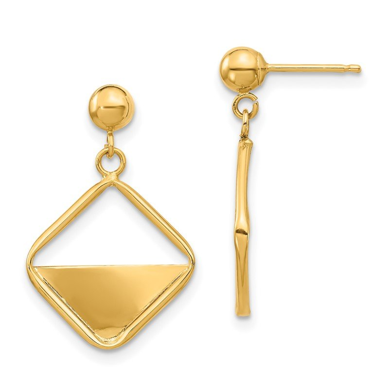 Quality Gold 14K Square Dangle Post Earrings