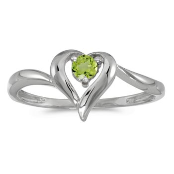 14k White Gold Round Peridot Heart Ring