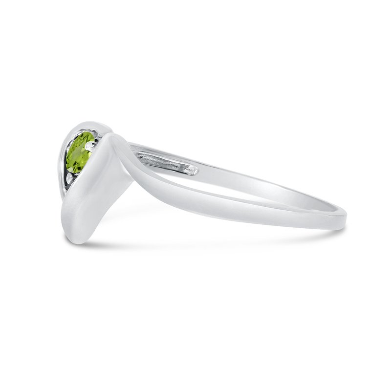 Color Merchants 14k White Gold Round Peridot Heart Ring