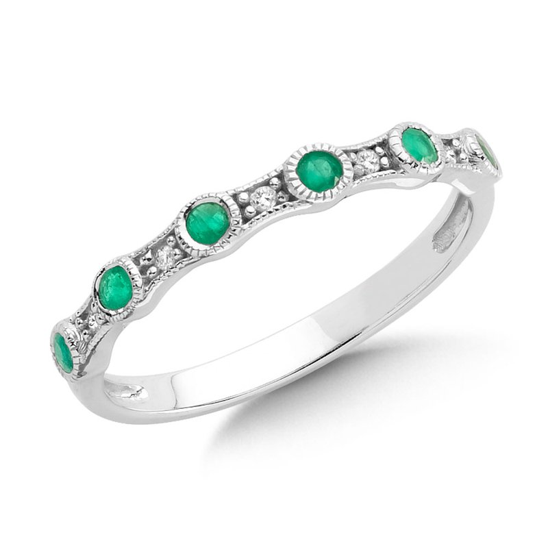 SDC Creations Pave and Bezel set Emerald and Diamond Stackable Ring in 14k White Gold