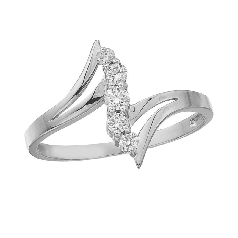 Color Merchants 14K White Gold and Diamond Bypass Promise Ring