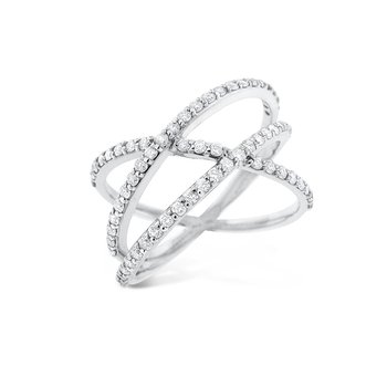 Diamond Roller Coaster Ring in 14K White Gold with 65 Diamonds Weighing .65ct tw