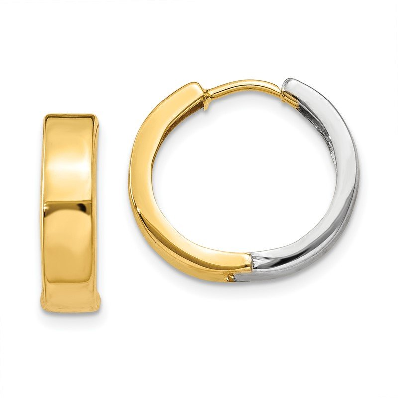 Quality Gold 14k Two-tone Hinged Hoop Earrings