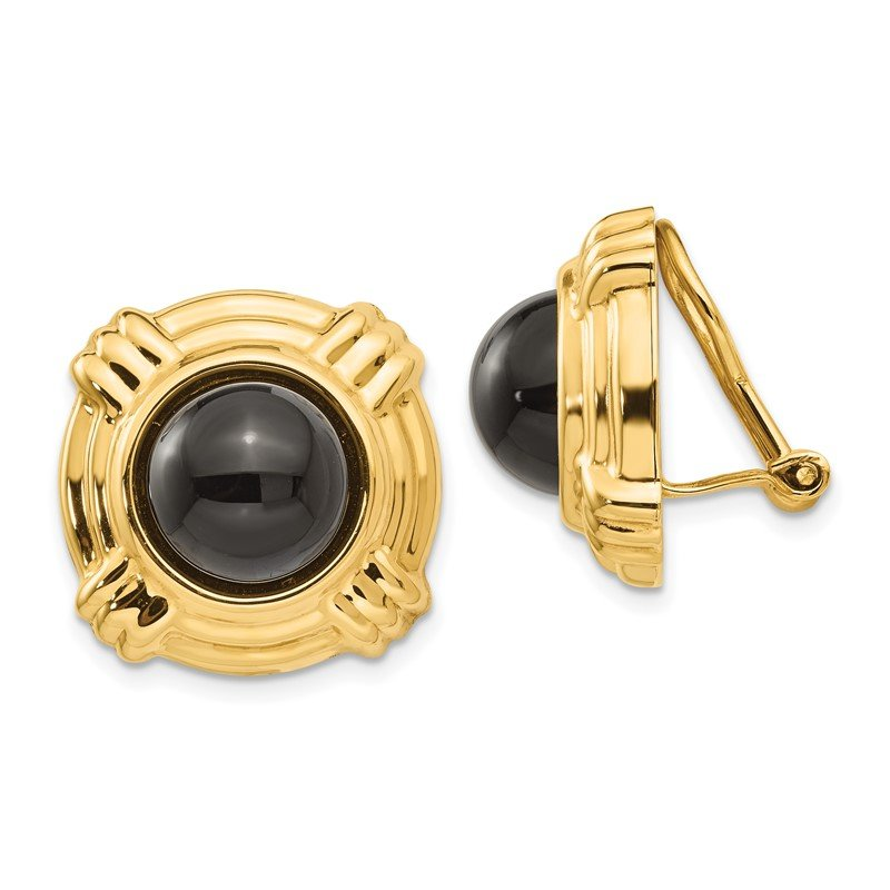 Quality Gold 14k Omega Clip Onyx Non-pierced Earrings