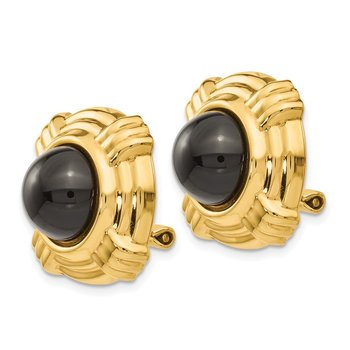 14k Omega Clip Onyx Non-pierced Earrings