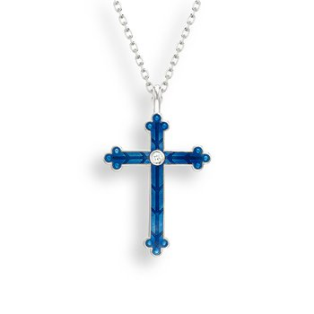 Blue Cross Necklace.Sterling Silver-White Sapphire