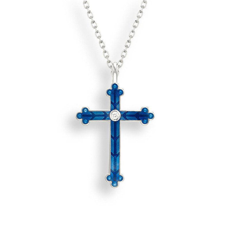 Nicole Barr Designs Blue Cross Necklace.Sterling Silver-White Sapphire