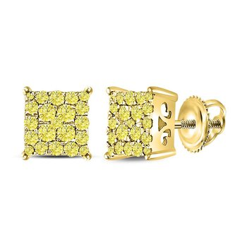 10kt Yellow Gold Womens Round Canary Diamond Square Cluster Stud Earrings 1/2 Cttw