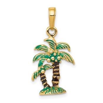 14k 3D Enameled Palm Trees Pendant