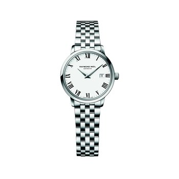 Ladies Quartz Date Watch, 29 mm Steel on steel