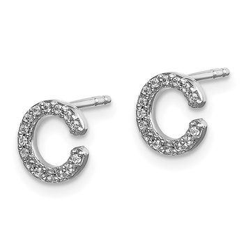 14k White Gold Diamond Initial C Earrings