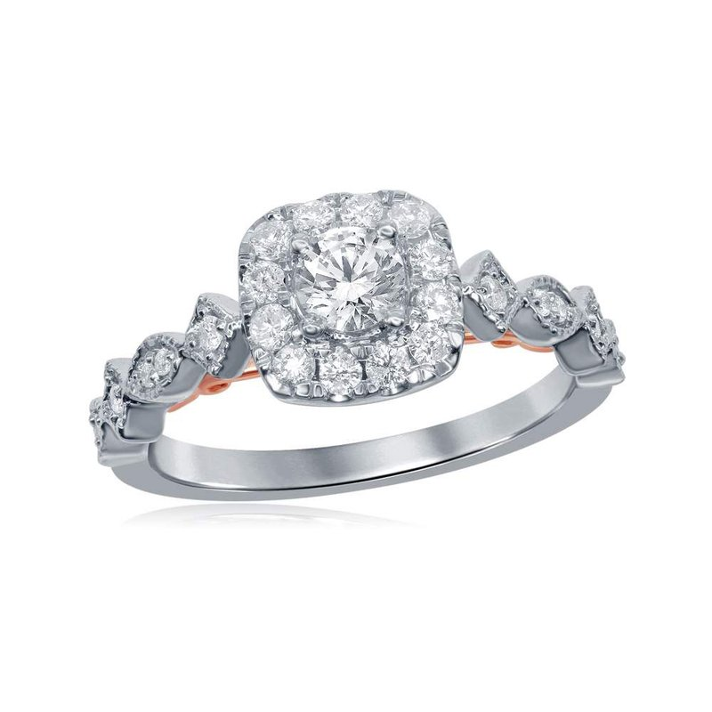 Gold-N-Diamonds, Inc. (Atlanta) 14kt Two-tone White Rose Gold Womens Round Diamond Solitaire Bellina Bridal Wedding Engagement Ring 3/4 Cttw