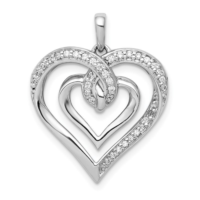 Quality Gold 14k White Gold 1/6ct. Diamond Entwined Heart Pendant