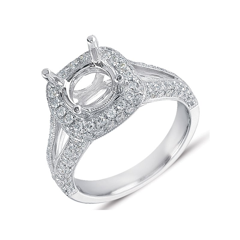 S. Kashi & Sons Bridal Platinum Pave Engagement Ring