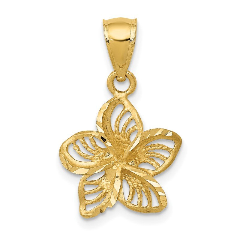 Quality Gold 14k Polished Diamond-cut Beaded Plumeria Flower Charm