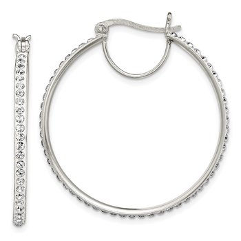 Sterling Silver White Swarovski Crystal Hoop Earrings