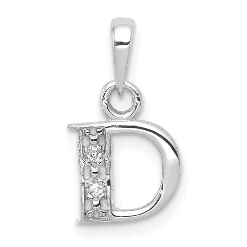 Quality Gold 14KW with Rhodium Diamond Letter D Initial Pendant