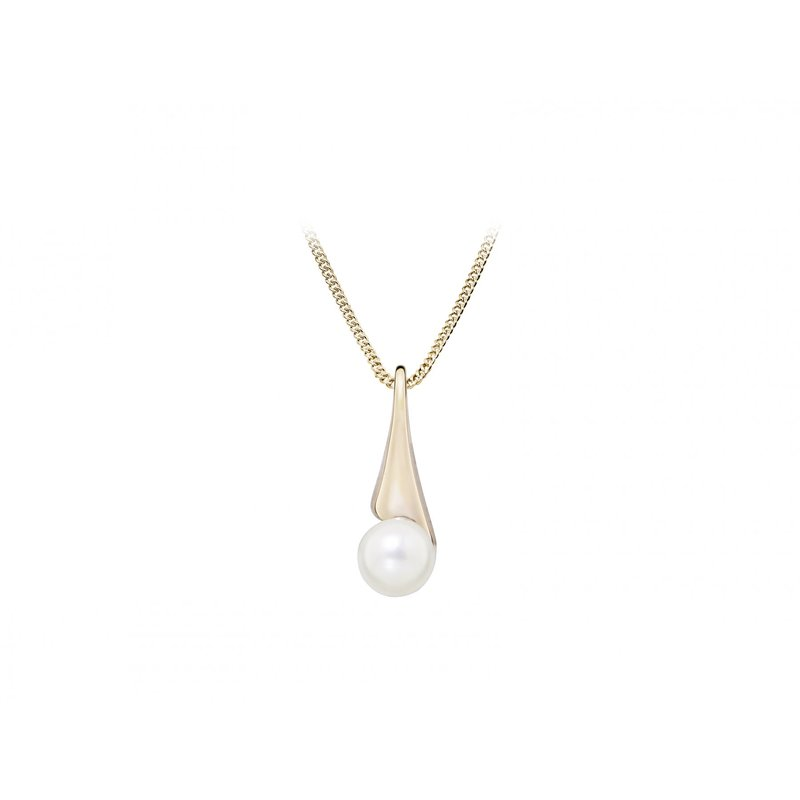 LARUS Jewelry Rose Gold and Pearl Drop Pendant