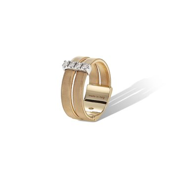 Masai Collection 18K Yellow Gold and Diamond Double Row Band