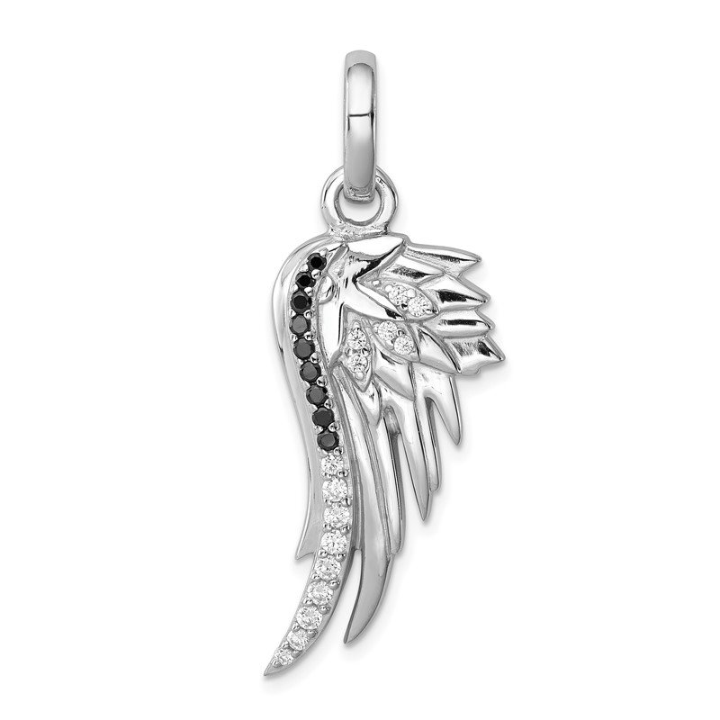 Quality Gold Sterling Silver Rhodium-plated Black and White CZ Wing Pendant