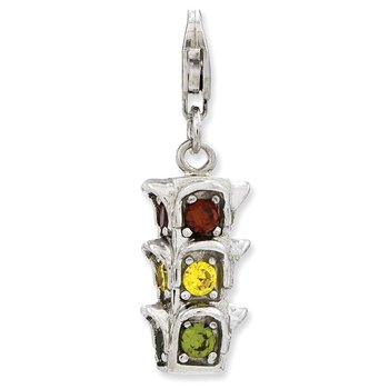 Sterling Silver 3-D CZ Traffic Light w/Lobster Clasp Charm