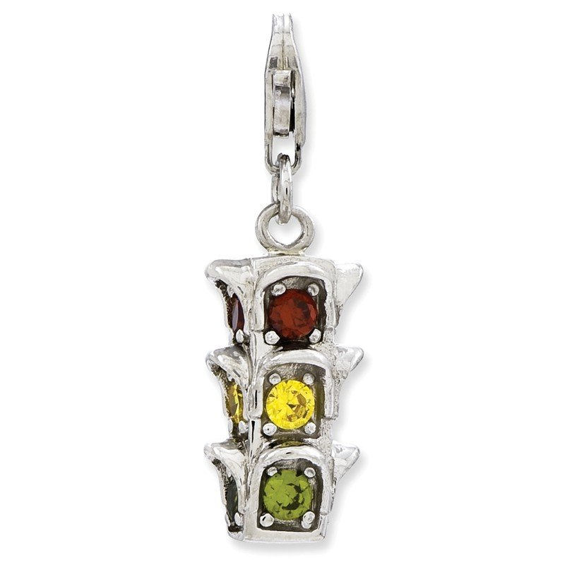 Quality Gold Sterling Silver 3-D CZ Traffic Light w/Lobster Clasp Charm
