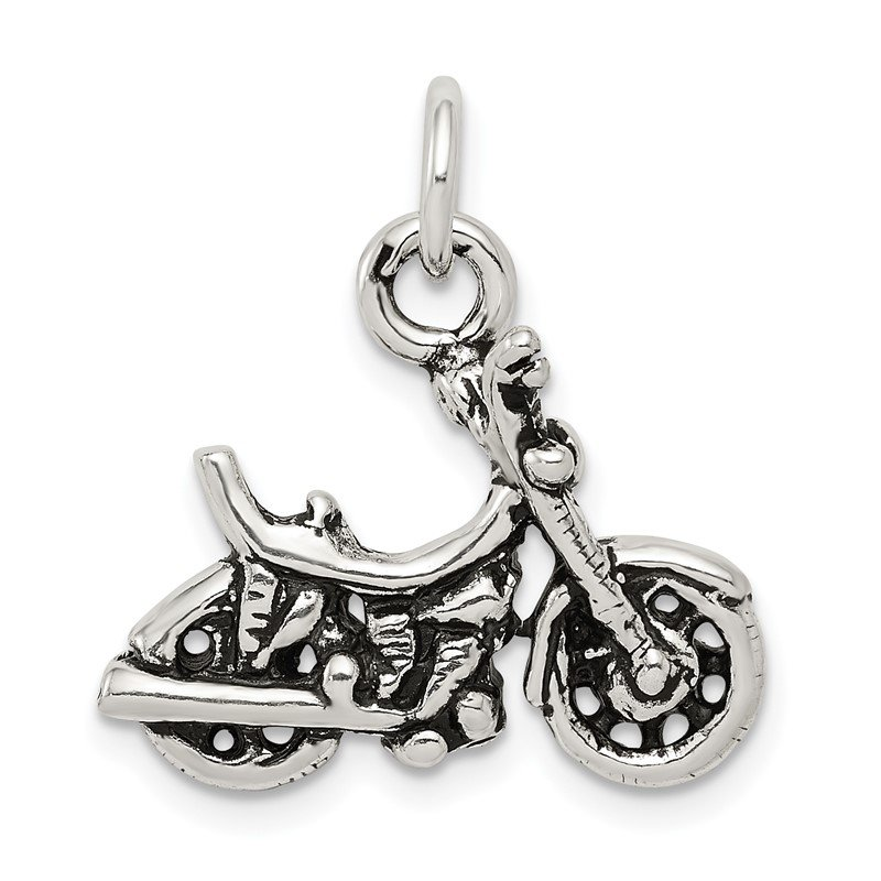 Quality Gold Sterling Silver Antiqued Motorcycle Charm