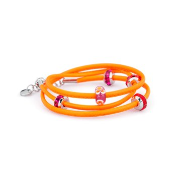 Bracelet. Fluo orange leather with 316L stainless steel elements, coloured glass and coloured Swarovski® Elements crystals