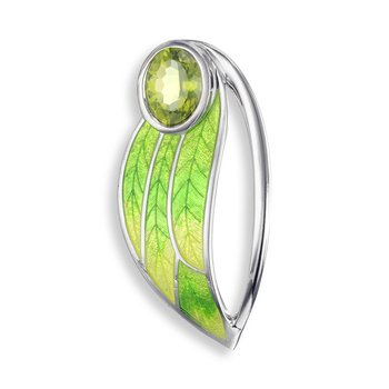 Green Contoured Leaf Brooch-Pendant.Sterling Silver-Peridot