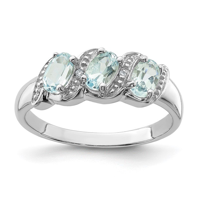 Quality Gold Sterling Silver Rhodium Aqua & Diamond Ring