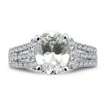 Engagement Ring with Oval Shape Center and Split Shank With Side Stones in 14K White Gold with Platinum Head