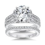 Caro74 Engagement Ring with Oval Shape Center and Split Shank With Side Stones in 14K White Gold with Platinum Head