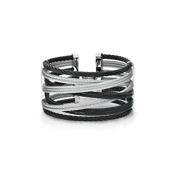 Black & Grey Cable Interlaced Bracelet
