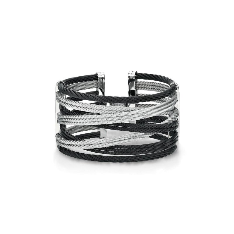ALOR Black & Grey Cable Interlaced Bracelet