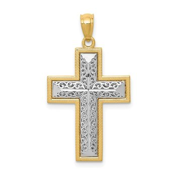 14k Two-tone Polished Filigree Cross Pendant