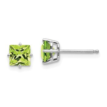 14k White Gold 5mm Square Step Cut Peridot Earrings