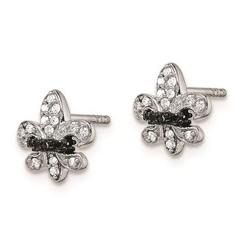 Sterling Silver Rhod Plated Black and White Dia Fleur de Lis Post Earrings