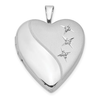 Sterling Silver Rhodium-plated 20mm D/C Heart Locket