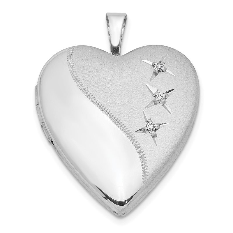 Quality Gold Sterling Silver Rhodium-plated 20mm D/C Heart Locket
