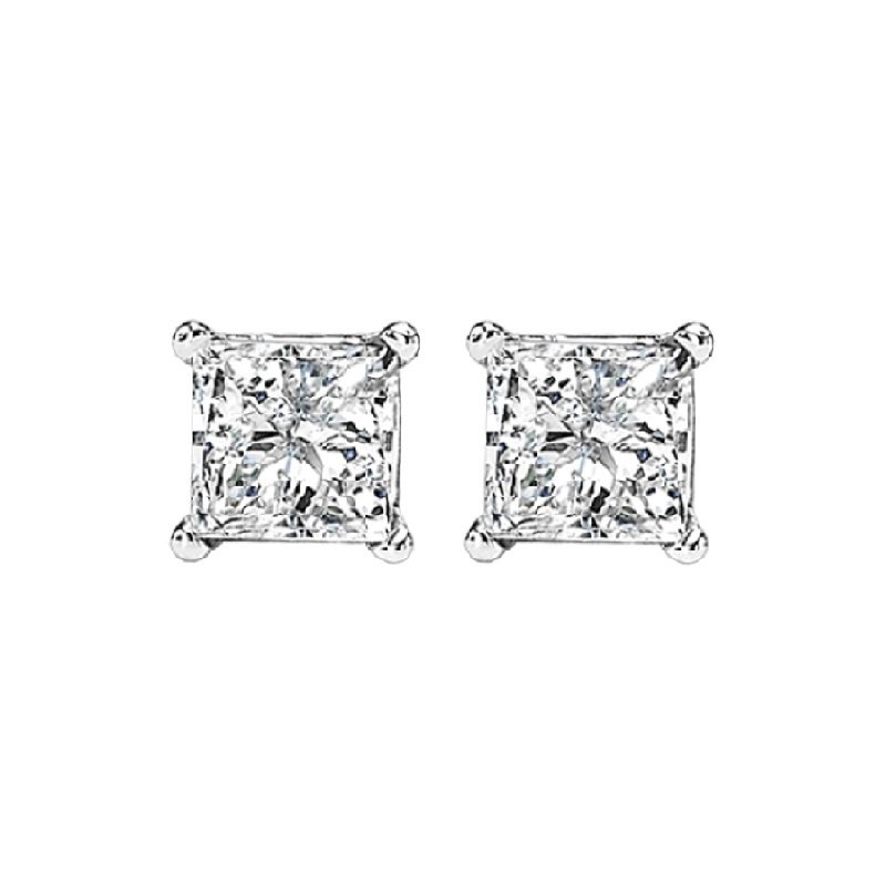 Gems One Princess Cut Diamond Studs in 14K White Gold (5/8 ct. tw.) I1 - G/H