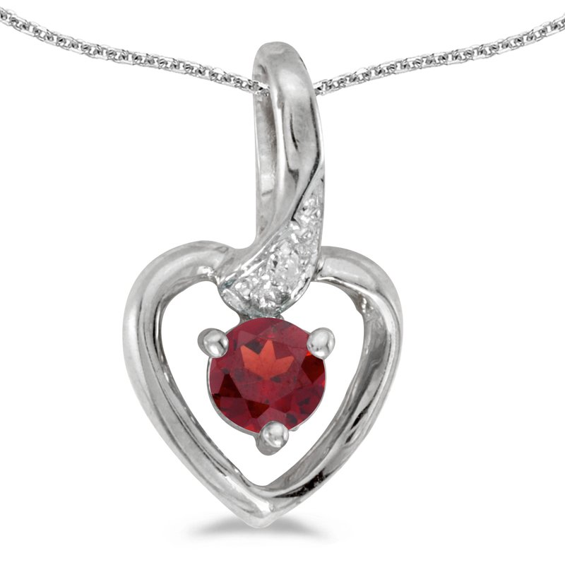Color Merchants 14k White Gold Round Garnet And Diamond Heart Pendant