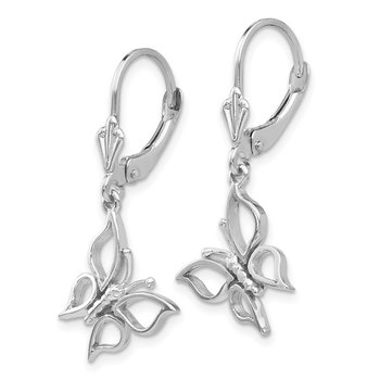 14k White Gold Polished Butterfly Leverback Earrings
