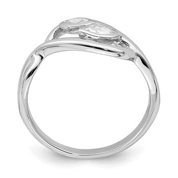 Sterling Silver Rhodium-plated 2-Marquise CZ Leaf Ring