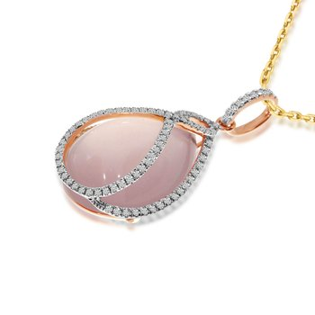 14K Rose Gold Large Pear shape Rose Quartz and Diamond Fashion Pendant