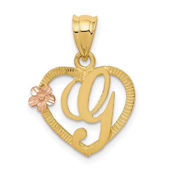 14k Two-Tone Heart Letter G Initial Pendant