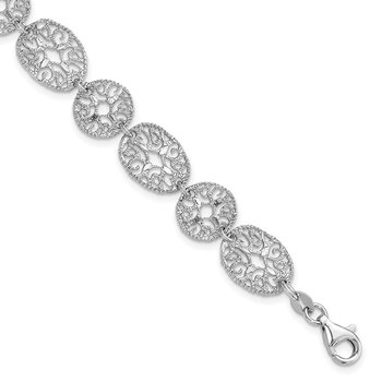 Sterling Silver Rhodium Polished Circles Bracelet