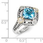 Shey Couture Sterling Silver w/14k Diamond & Blue Topaz Ring
