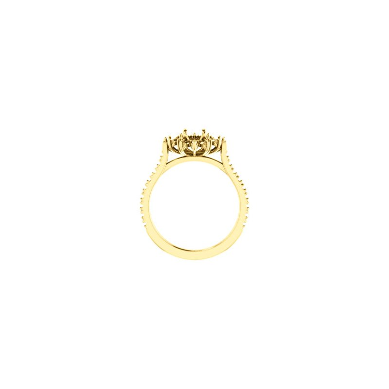 18K Yellow 7 x 5 mm Oval French-Set Halo-Style Engagement Ring Mounting